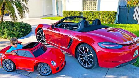 哇塞!萌宝小正太用魔法把爸爸的汽车变成玩具车?趣味玩具故事