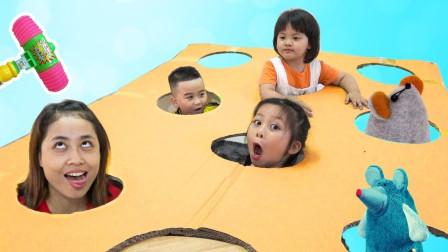 超好玩!萌宝小正太和妈妈的打地鼠游戏谁会是最后的王者?趣味玩具故事