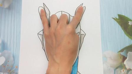 只需把手掌放在A4纸手绘赛罗奥特曼,画法有趣又好玩手势图
