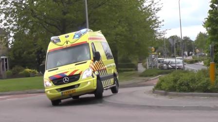 荷兰急救车日常~貌似吃了兴奋剂,这速度和车技还怕不能第一时间送达?