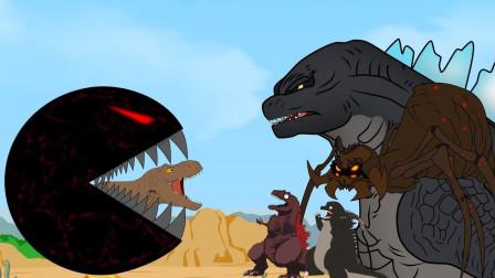 吃豆人入侵地球,追杀哥斯拉兄弟虐爆蜘蛛怪,却被一只脚给踢飞了?