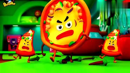 宝宝巴士:难看难看的披萨来捣蛋,薯条小子用番茄酱炮弹来阻挡他们!
