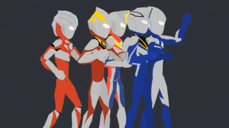 五位奥特战士的人间体一起变身,红凯用圣剑变成了红色的欧布