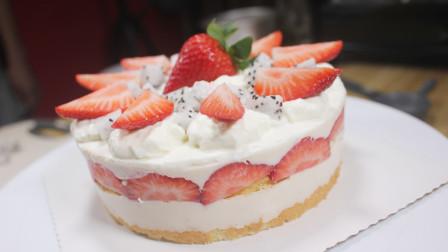 小朋友生日啦,做个草莓生日蛋糕,入口即化的口感很受欢迎