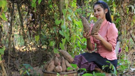 越南农村妹子真会吃,亲自在地里挖薯,小竹屋旁煮着吃