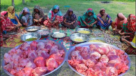 印度农村豪华大餐,整整40个大牛心,看看他们如何做成咖喱!
