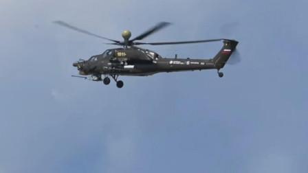 俄罗斯米28武装直升机在空中机动飞行,俄罗斯版的阿帕奇