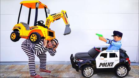 越看越精彩,警察小正太如何成功抓获偷车贼?儿童益智玩具过家家