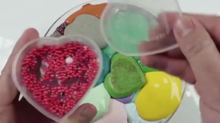 水晶泥大作战,心形黏液混合做泥,无硼砂史莱姆手工
