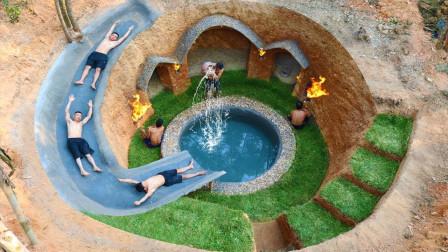 """农村兄弟野外建造豪华泳池,竟还自带""""滑滑梯"""",结果成品简直佩服不已!"""