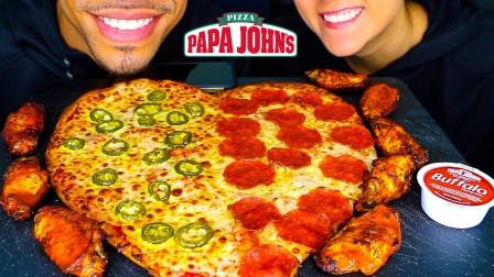 情侣挑战双拼爱心披萨,吃美食还不忘撒狗粮,搭配烤鸡翅口感如何?