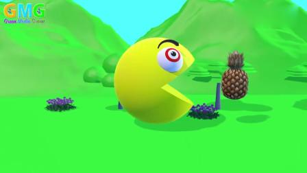 吃豆人动画:吃豆人吃下蘑菇,展开游戏大闯关