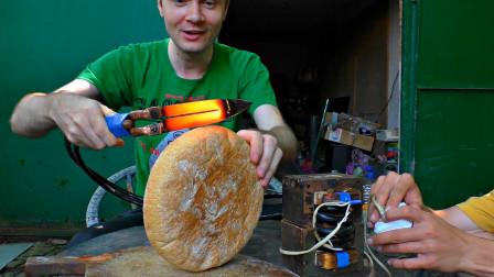 电工自制电热刀,拿坚硬的俄罗斯大列巴测试,结果会怎么样?