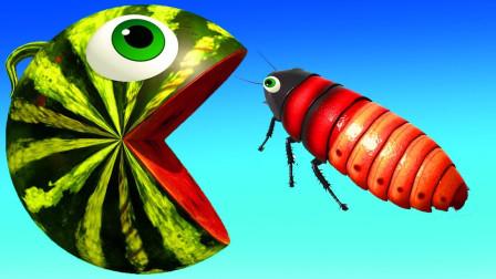 吃豆小子室内吃菠萝遇到毛毛虫益智动画学颜色