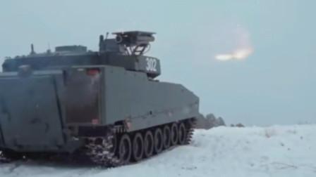 瑞典CV90装甲车发射长钉-LR光纤制导反坦克导弹攻顶攻击一击必杀