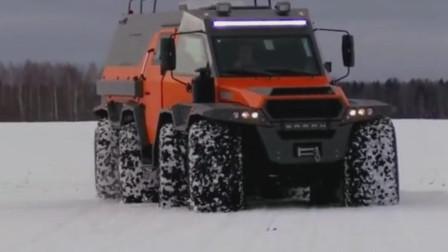 俄罗斯萨满8x8越野车,全地形行驶能力在冰雪高原横冲直撞