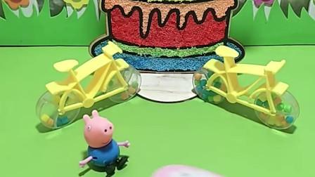 猪妈妈给乔治一个糖,让他和姐姐佩奇一起吃,可乔治自己却把糖吃完了