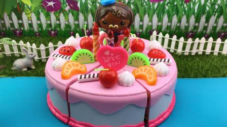 食玩DIY水果蛋糕,海底小纵队过生日!