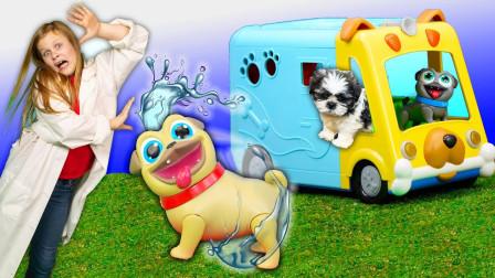 越看越搞笑,小萝莉能照顾好宠物狗狗吗?儿童益智早教玩具过家家