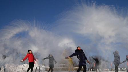 中国最北点的泼水节,-40℃千人泼水成冰,白雾腾起瞬间太壮观了