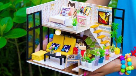 DIY制作双层卧室玩具屋和迷你钢琴房