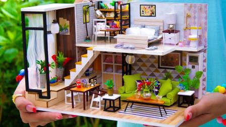 手工制作现代双层居室玩具屋