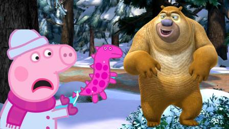 小猪佩奇来森林里探险遇到了熊二 熊出没 简笔画