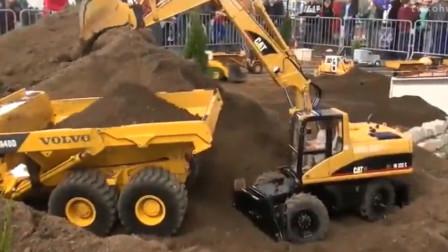 汽车总动员 遥控工程车挖掘机推土机翻斗车工作视频