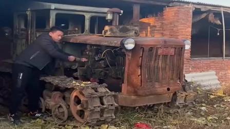几十年前的东方红拖拉机,居然还能启动,这得是古董级别了!