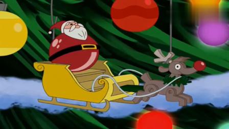 猫和老鼠:杰瑞坐着雪橇车,差点就被汤姆连着车一块吃掉