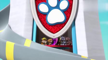 汪汪队:狗狗们都跑进了电梯,毛毛也想进去,却被气球弹出来了!