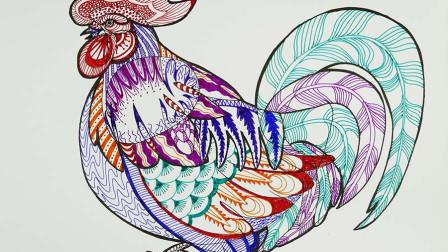 儿童彩色线描:从乱线到美丽大公鸡