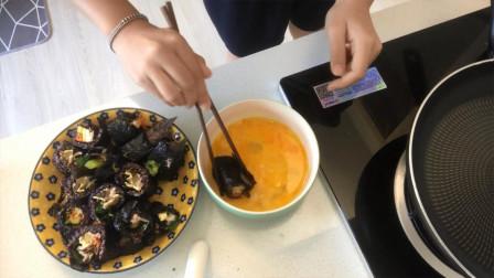 吃剩了的紫菜卷怎么处理?沾上鸡蛋做一做煎紫菜卷