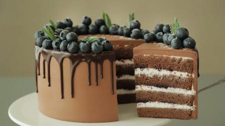 """免费蛋糕教程:""""蓝莓配黑巧克力"""",手被二哈啃过也能学会!"""