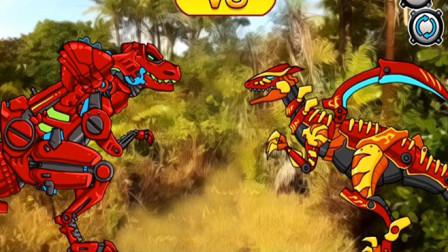 机械恐龙拼装霸王龙对战怪异三角龙谁赢?