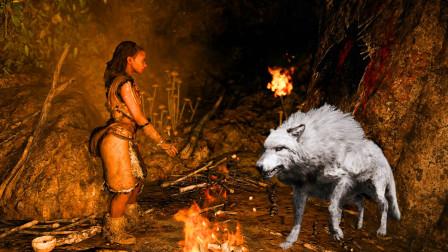 帝哥历险记:孤岛求生03,击退狼群,误入剑齿虎洞穴,解救女野人