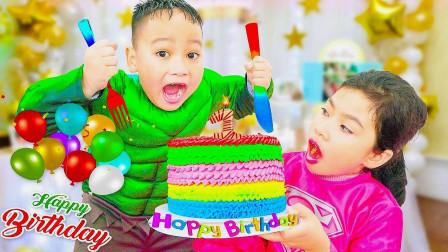 小姐姐与小弟弟一起制作小蛋糕,看看谁的评分高!