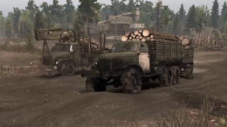 【旋转轮胎】切尔诺贝利DLC 快速装载木头的方法 穿越辐射区运输货物 苏联卡车硬核越野