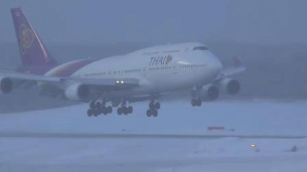 波音747-400在恶劣气象条件下降落发动机开反推减速