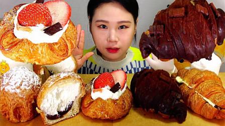 """韩国吃播:""""草莓奶油面包+巧克力面包+牛角包"""",卡妹吃得真馋人"""