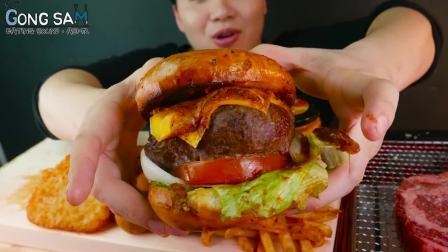 【韩国吃播】心形牛肉饼汉堡、油炸土豆饼、芝士球、薯条、烤牛排