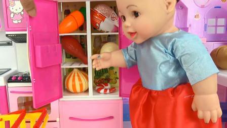 亮亮玩具芭比娃娃厨房烹饪和奇趣蛋玩具试玩,婴幼儿宝宝过家家游戏视频