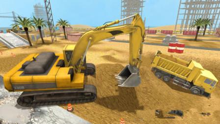 挖掘机工程车工地合作寻找工作目标结果?汽车总动员