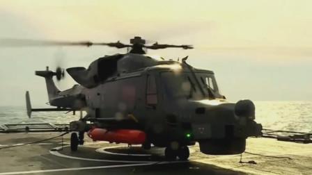 AW-159直升机从韩国护卫舰上起飞执行反潜任务