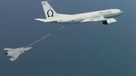 美军航空母舰上X-47B无人机攻击机高速起飞空中加油