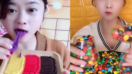 美女直播吃梳子巧克力,多种颜色任意选,看着就想吃