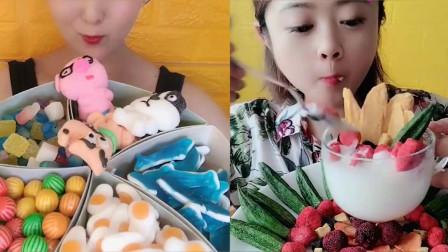 美女直播吃糖果拼盘,多种颜色任意选,是我向往的生活