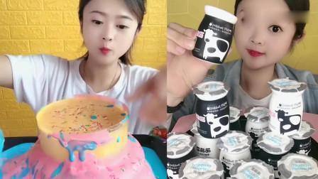 小姐姐吃播:彩虹爆浆蛋糕、酸奶布丁,看起来真馋人