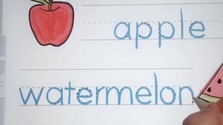 做美国小学生作业学英语,描写水果单词,背单词记单词