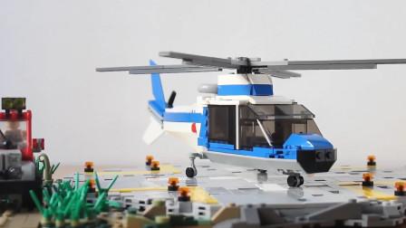 乐高MOC拼装侏罗纪公园InGen公司 阿古斯塔款直升机积木